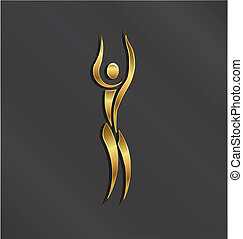 El logotipo de la persona dorada del yoga