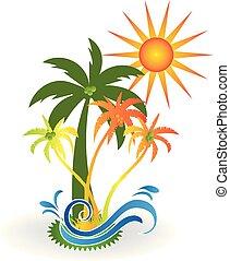 El logotipo de la playa del paraíso tropical