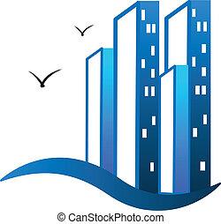 El logotipo de los edificios modernos