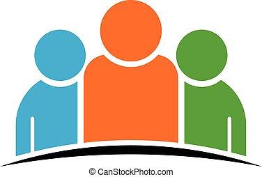 El logotipo de tres personas