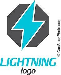 El logotipo de un rayo en un fondo blanco. Ilustración de vectores