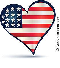 El logotipo del vector de bandera de Heart USA