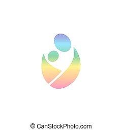 El logotipo Vector llevando al bebé en cabestrillo. El hombre del logotipo del arco iris abrazando al niño. Eslinga, paternidad y logotipo de amamantar