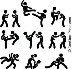 El luchador Muay thai boxeando karate