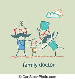 El médico de familia trata al padre y a su hijo
