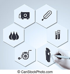 El médico dibuja iconos como concepto médico