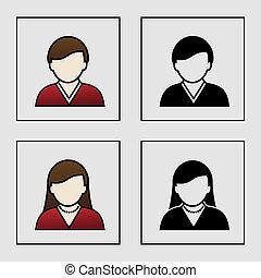 El macho macho vector iconos avatares femeninos - usuario, miembro