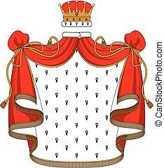 El manto de terciopelo rojo real con corona dorada
