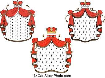 El manto de terciopelo rojo real con coronas doradas