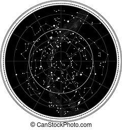El mapa celestial del cielo nocturno