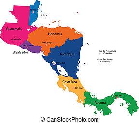 El mapa de América Central