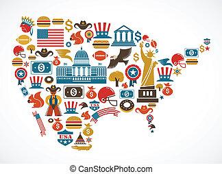 El mapa de América con muchos iconos vectoriales