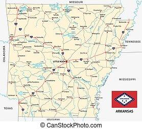 El mapa de Arkansas con bandera