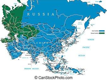 El mapa de Asia