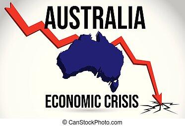El mapa de Australia crisis financiera de colapso económico de mercado de caída global vector de fusión global.