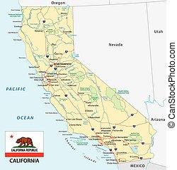 El mapa de California con bandera