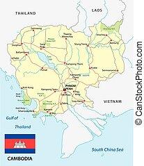 El mapa de Camboya con bandera
