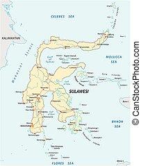 El mapa de carreteras Vector de la isla sulawesi indonesia