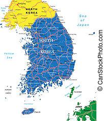 El mapa de Corea del Sur