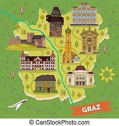 El mapa de Graz con monumentos turísticos