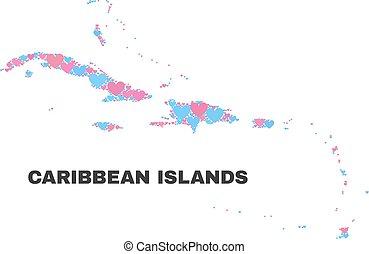 El mapa de islas caribeñas, mosaico de corazones de San Valentín