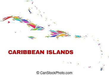 El mapa de islas caribeñas, mosaico de triángulos de colores