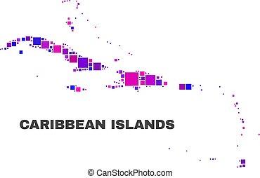 El mapa de islas caribeños mosaicos de elementos cuadrados