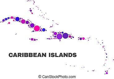 El mapa de islas caribeños mosaicos de objetos redondos