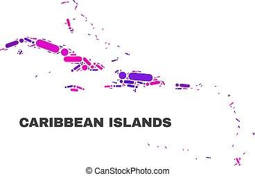 El mapa de islas caribeños mosaicos de puntos y líneas