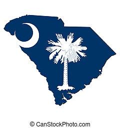 El mapa de la bandera del sur de Carolina