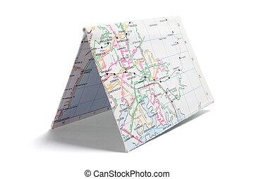 El mapa de la calle de papel doblado