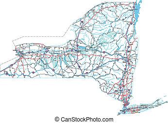 El mapa de la carretera de Nueva York