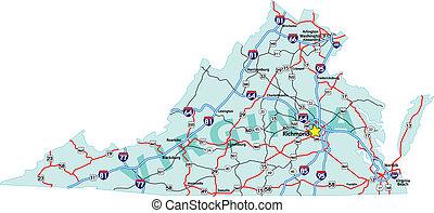 El mapa de la interestatal Virginia
