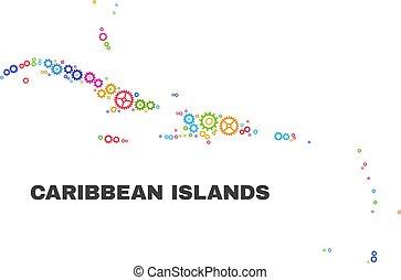 El mapa de las islas del Caribe mosaico de elementos de engranaje