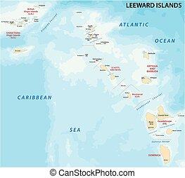 El mapa de las islas Leeward