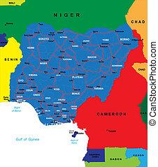 El mapa de Nigeria