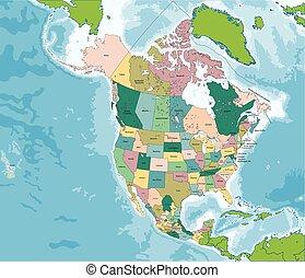 El mapa de Norteamérica con EE.UU., Canadá y México