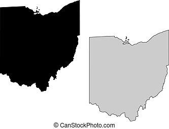El mapa de Ohio. Blanco y negro. Proyección de Mercator.