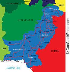 El mapa de Pakistán