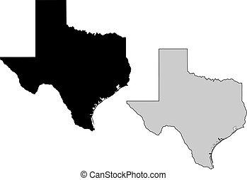 El mapa de Texas. Blanco y negro. Proyección de Mercator.