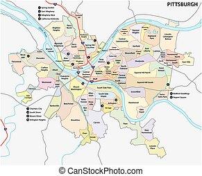 El mapa del barrio de Pittsburgh