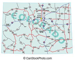 El mapa del estado de Colorado