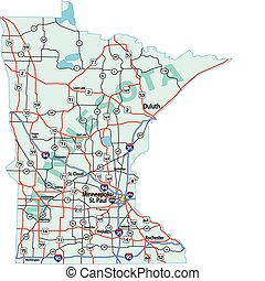 El mapa del estado de Minnesota