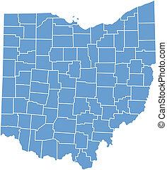 El mapa del estado de Ohio