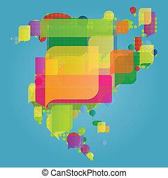 El mapa del mundo del norte y centro de América, hecho de colorido vector de burbujas de habla