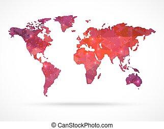 El mapa del mundo del vector de diamante Sparkle