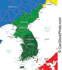 El mapa del sur y del norte de Corea