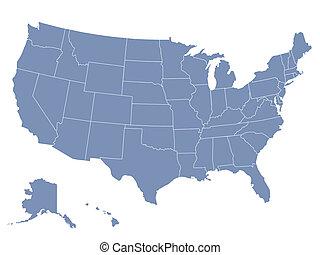 El mapa del vector de los Estados Unidos de América, cada estado está en una capa seperada, así que puede ser editado fácilmente