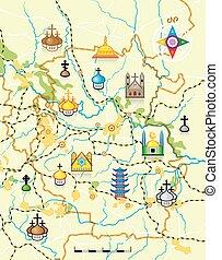 El mapa del vector del país con marcas religiosas