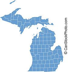 El mapa del vector Michigan